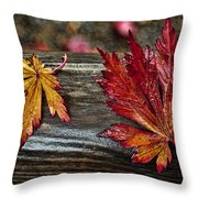 Soaked Leaves Throw Pillow