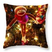 Sock Monkey Is In The Season Throw Pillow