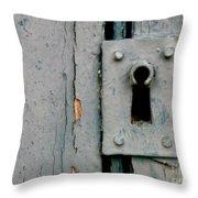 Soft Blue Door And Lock Throw Pillow