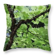 Soft Green Leaves Throw Pillow