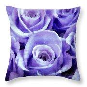 Soft Lavender Roses Throw Pillow