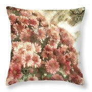 Soft Red Mums Throw Pillow