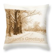 Soft Sepia Season's Greetings Card Throw Pillow by Carol Groenen