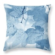 Softness Of Blue Leaves Throw Pillow