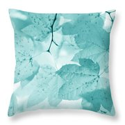Softness Of Teal Maple Leaves Throw Pillow