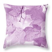 Softness Of Violet Maple Leaves Throw Pillow
