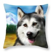 Smiling Siberian Husky  Painting Throw Pillow