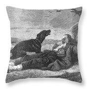 Soldier & Dog Throw Pillow