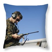 Soldier Conducts A Communications Check Throw Pillow