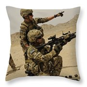 Soldier Directing A Fellow Soldier Throw Pillow