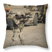Soldier Fires A M4 Carbine Throw Pillow