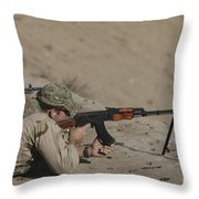Soldier Fires A Russian Rpk Kalashnikov Throw Pillow