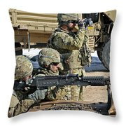 Soldier Firing A M240b Machine Gun Throw Pillow