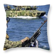 Soldier Mans A M240g Machine Gun While Throw Pillow