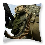 Soldier Mans A Vehicle Mounted 7.62 Mm Throw Pillow by Stocktrek Images