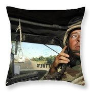 Soldier Monitors The Progress Of A 67 Throw Pillow