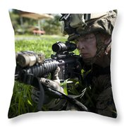 Soldier Provides Security Throw Pillow