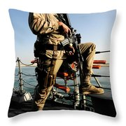 Soldier Stands Watch Aboard Uss Momsen Throw Pillow