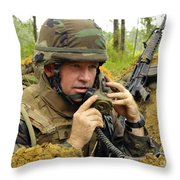 Soldier Using A Ta-1 Sound Powered Throw Pillow