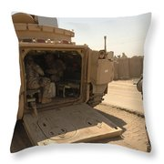 Soldiers Climb Into The Back Of A M2 Throw Pillow