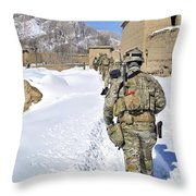 Soldiers Conduct A Patrol In Shah Joy Throw Pillow