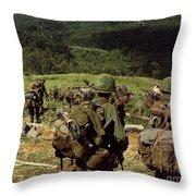 Soldiers Descend The Side Of Hill 742 Throw Pillow