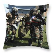Soldiers Dressed In Chemical Warfare Throw Pillow