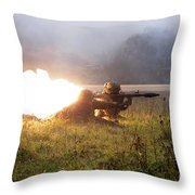 Soldiers Fire A Rocket Propelled Throw Pillow