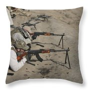 Soldiers Fire A Russian Rpk Kalashnikov Throw Pillow