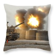 Soldiers Fire The Howitzers Throw Pillow
