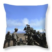 Soldiers Firing The M777 Howitzer Throw Pillow