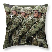 Soldiers From The Japan Ground Self Throw Pillow by Stocktrek Images