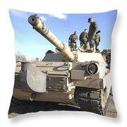 Soldiers Get Their Battletank Ready Throw Pillow