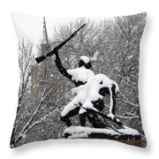 Soldiers In The Snow Throw Pillow