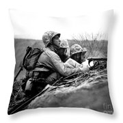 Soldiers Locate Enemy Position On A Map Throw Pillow