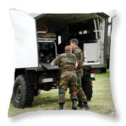Soldiers Of An Infantry Section Throw Pillow