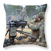 Soldiers Operate A Mk-19 Grenade Throw Pillow by Stocktrek Images