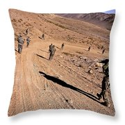 Soldiers Patrol To A Village Throw Pillow