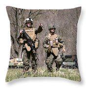 Soldiers Perform A Site Survey In Camp Throw Pillow