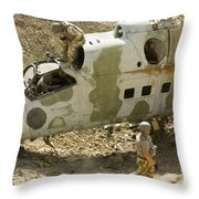 Soldiers Place Tnt Charges Throw Pillow