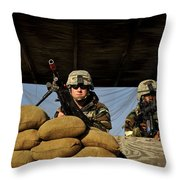Soldiers Provide Security Throw Pillow