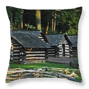 Soldiers Quarters At Valley Forge Throw Pillow