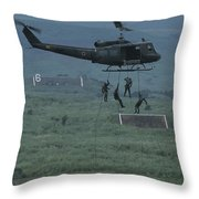 Soldiers Rappel From A Helicopter Throw Pillow