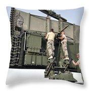 Soldiers Set Up A Tps-75 Radar Throw Pillow