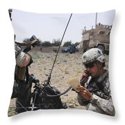 Soldiers Setting Up A Satellite Throw Pillow