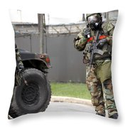Soldiers Stand Guard At An Intersection Throw Pillow