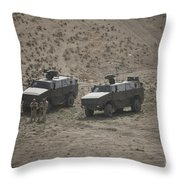 Soldiers Stand Outside Their German Atf Throw Pillow