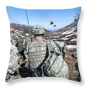 Soldiers Wait For Uh-60 Black Hawk Throw Pillow