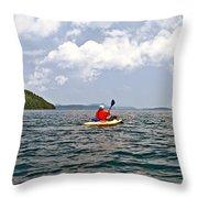 Solitary Man In Kayak Throw Pillow