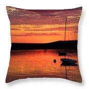 Solitary Sailboat At Sundown Throw Pillow